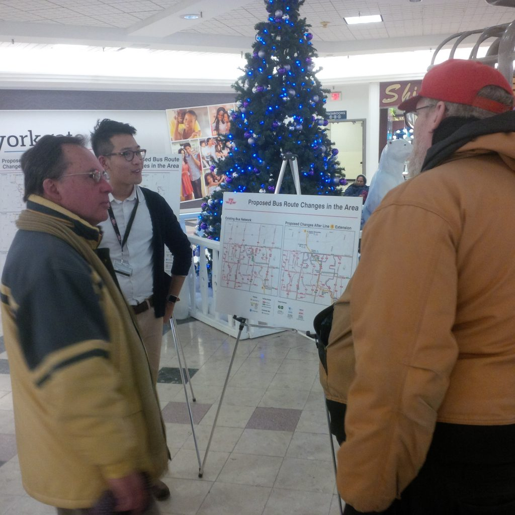 Ward 8 residents gather at Yorkgate Mall to listen to the TTC presentation about upcoming bus route changes